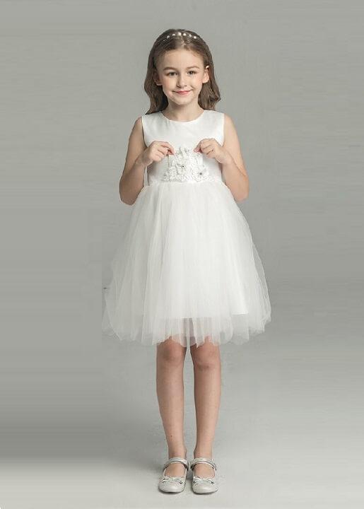 Flower Girl Dress White Color Princess Dress Wedding Gown For Girl